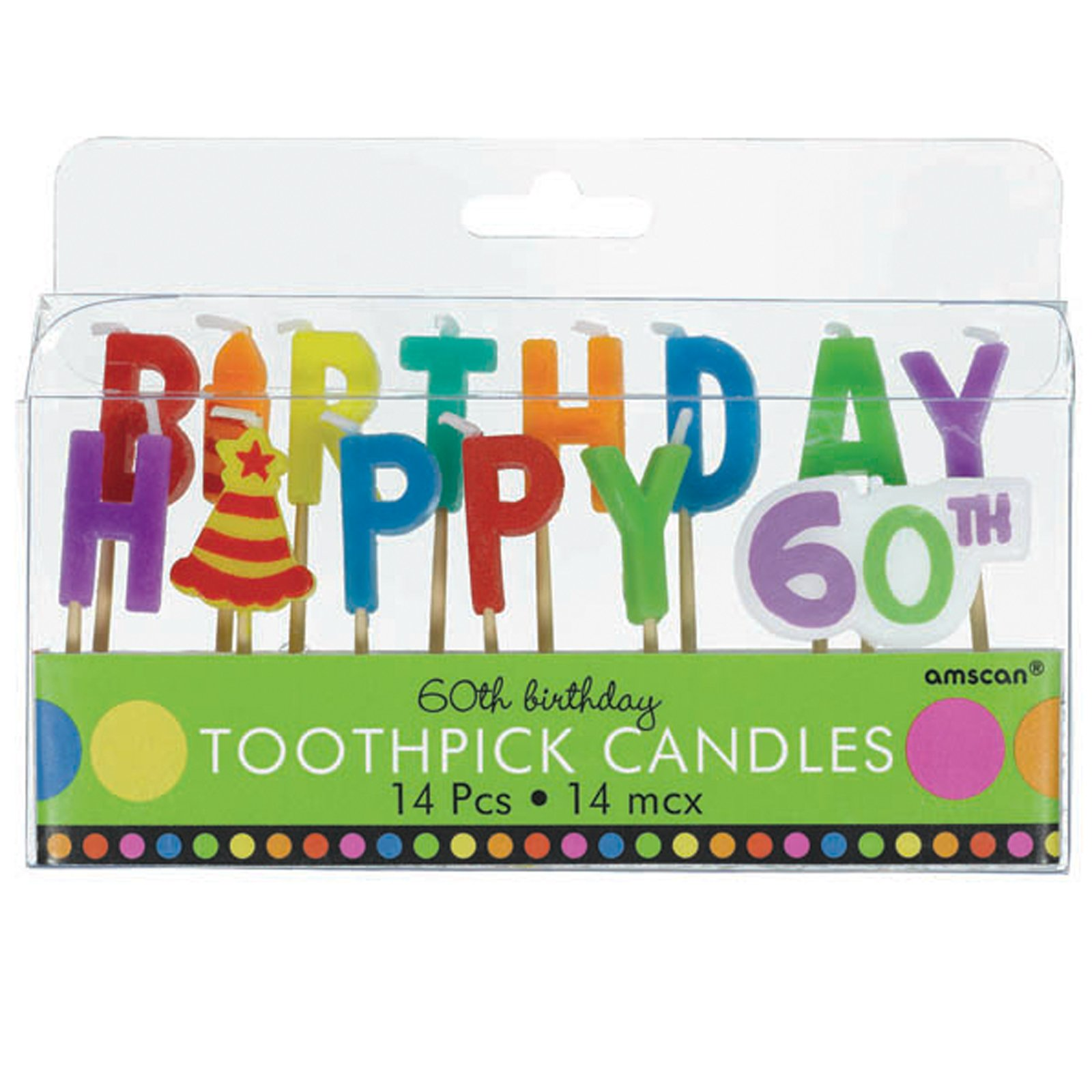 60th Birthday Toothpick Candles (14 count)
