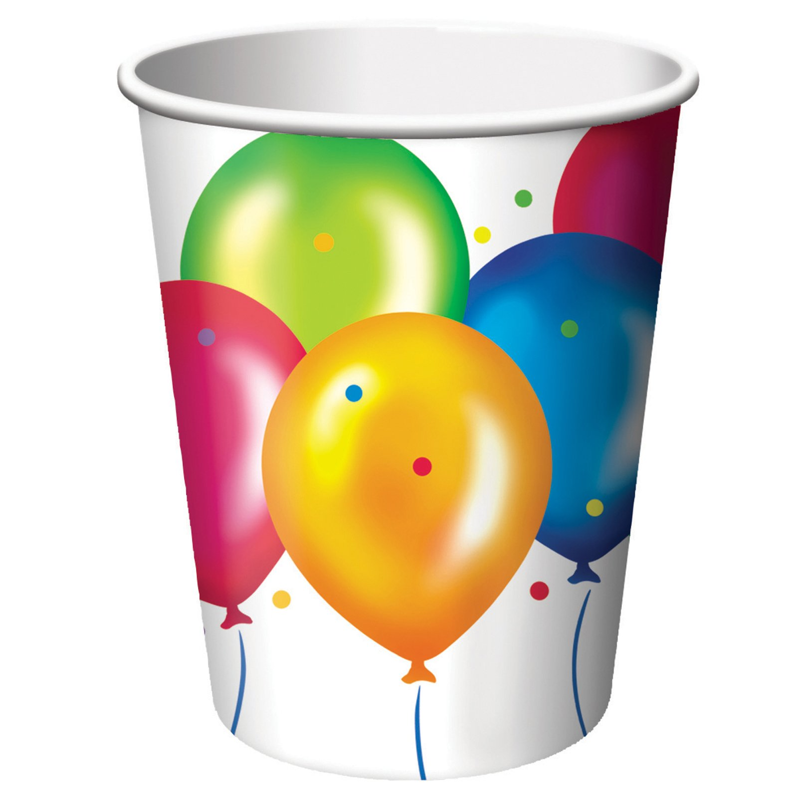 Birthday Balloons 9 oz. Paper Cups (18 count)