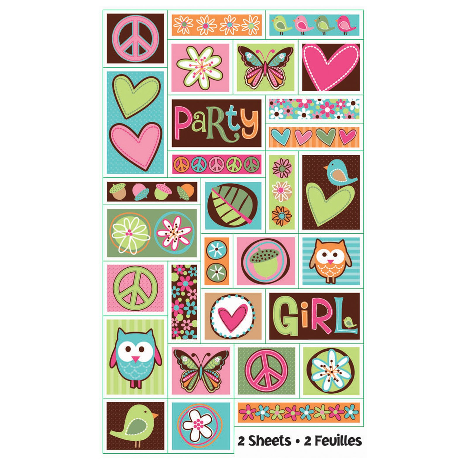 Hippie Chick Birthday Sticker Sheets (2 count)