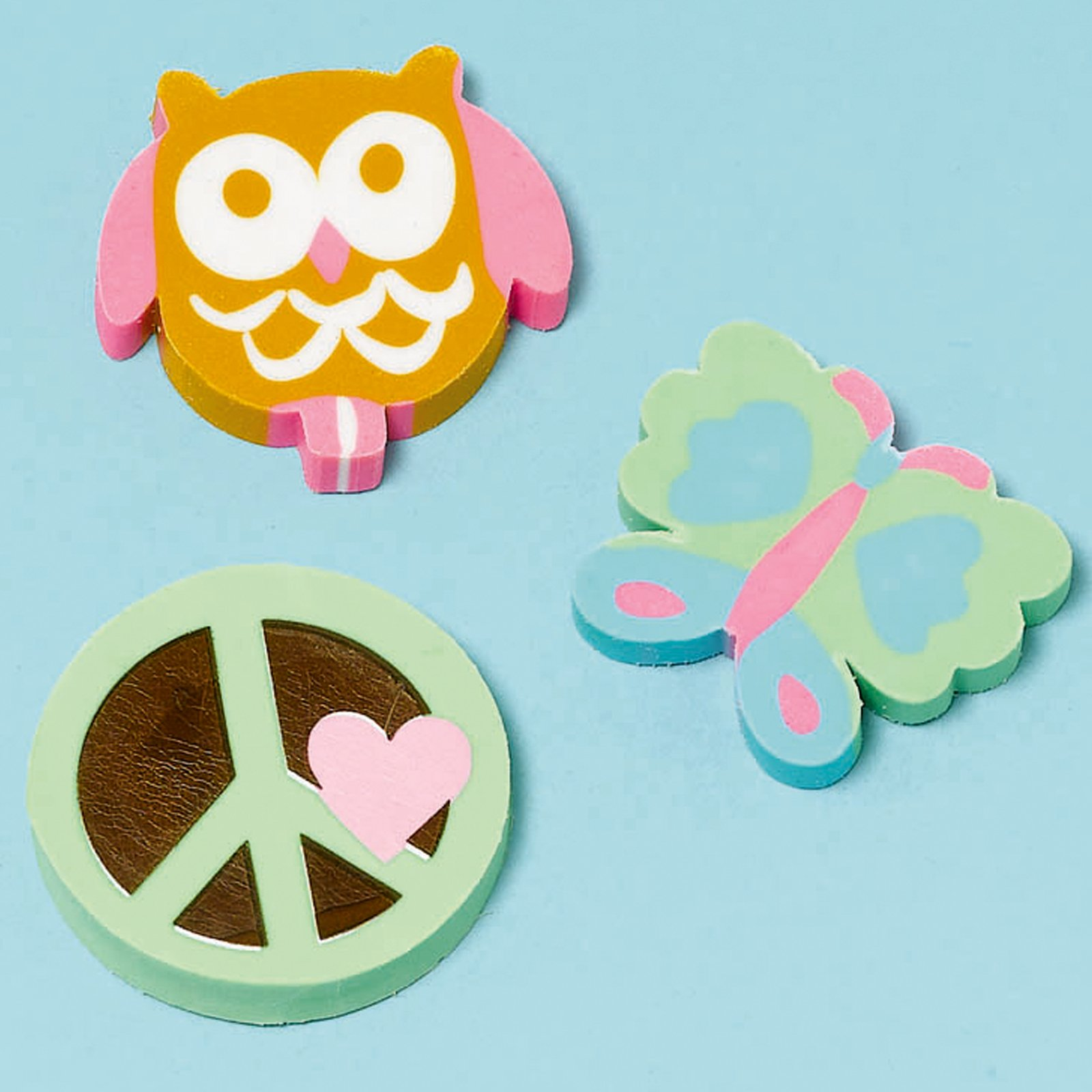 Hippie Chick Erasers Assorted (12 count)