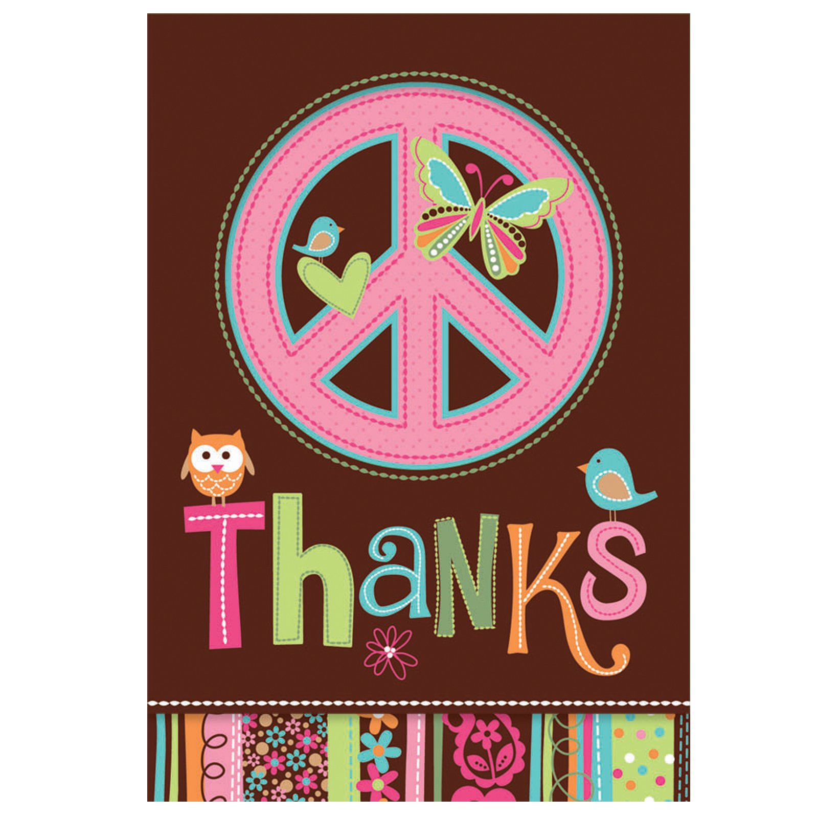 Hippie Chick Birthday Thank You Cards (8 count)