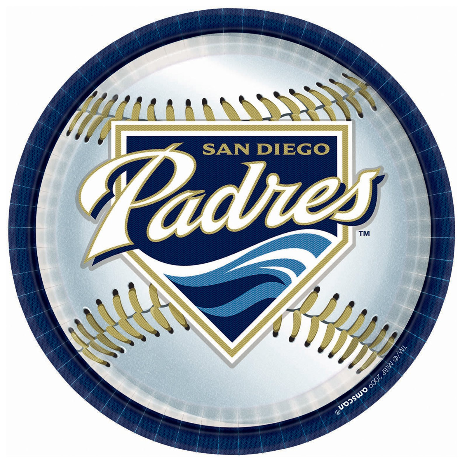 San Diego Padres Baseball - Round Dinner Plates (18 count)