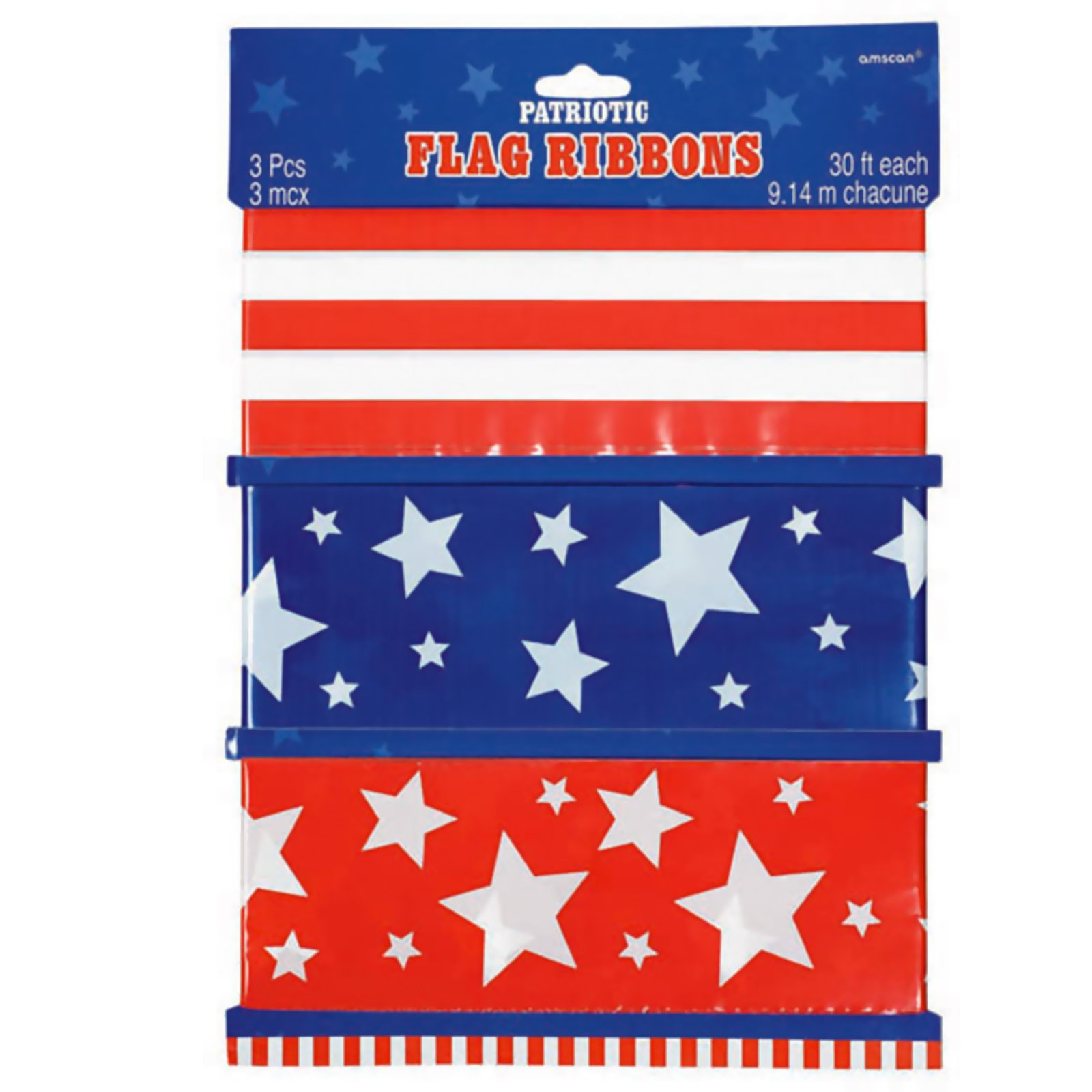 Patriotic Ribbon Flags (3 count)