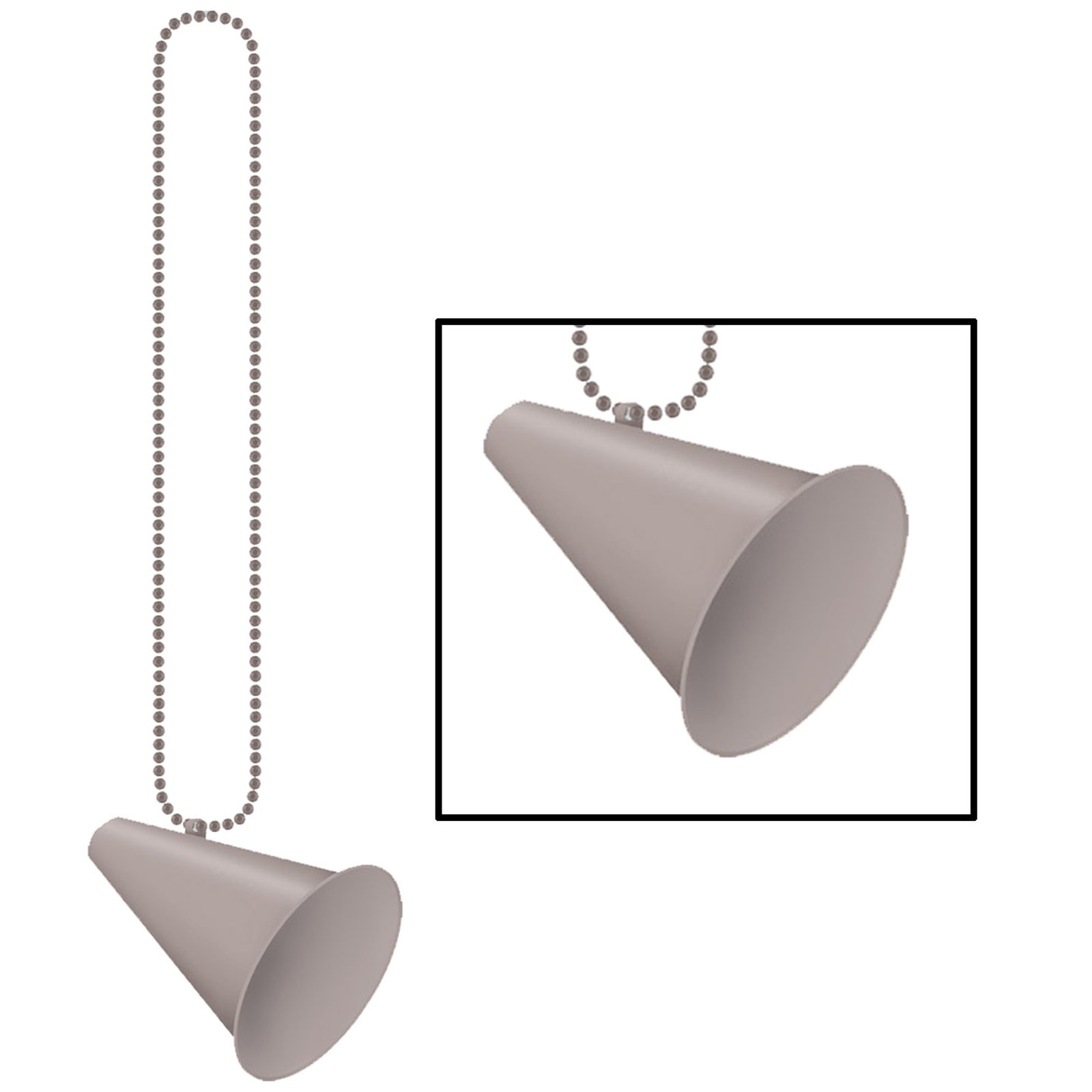 Beads with Megaphone Medallion - Silver