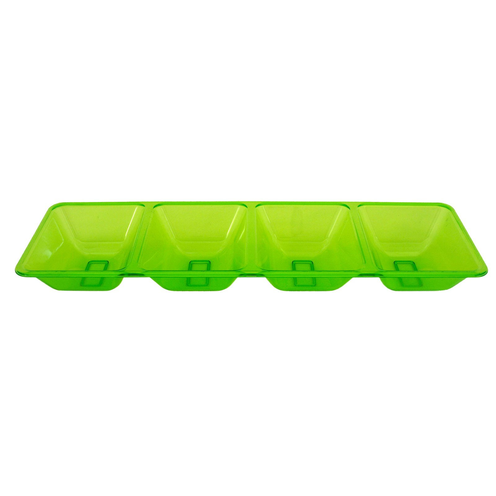 Neon Green 4 Compartment Rectangular Tray