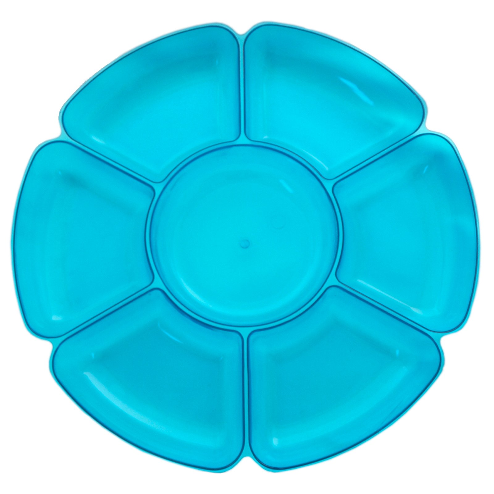 Neon Blue Round 7 Section Tray