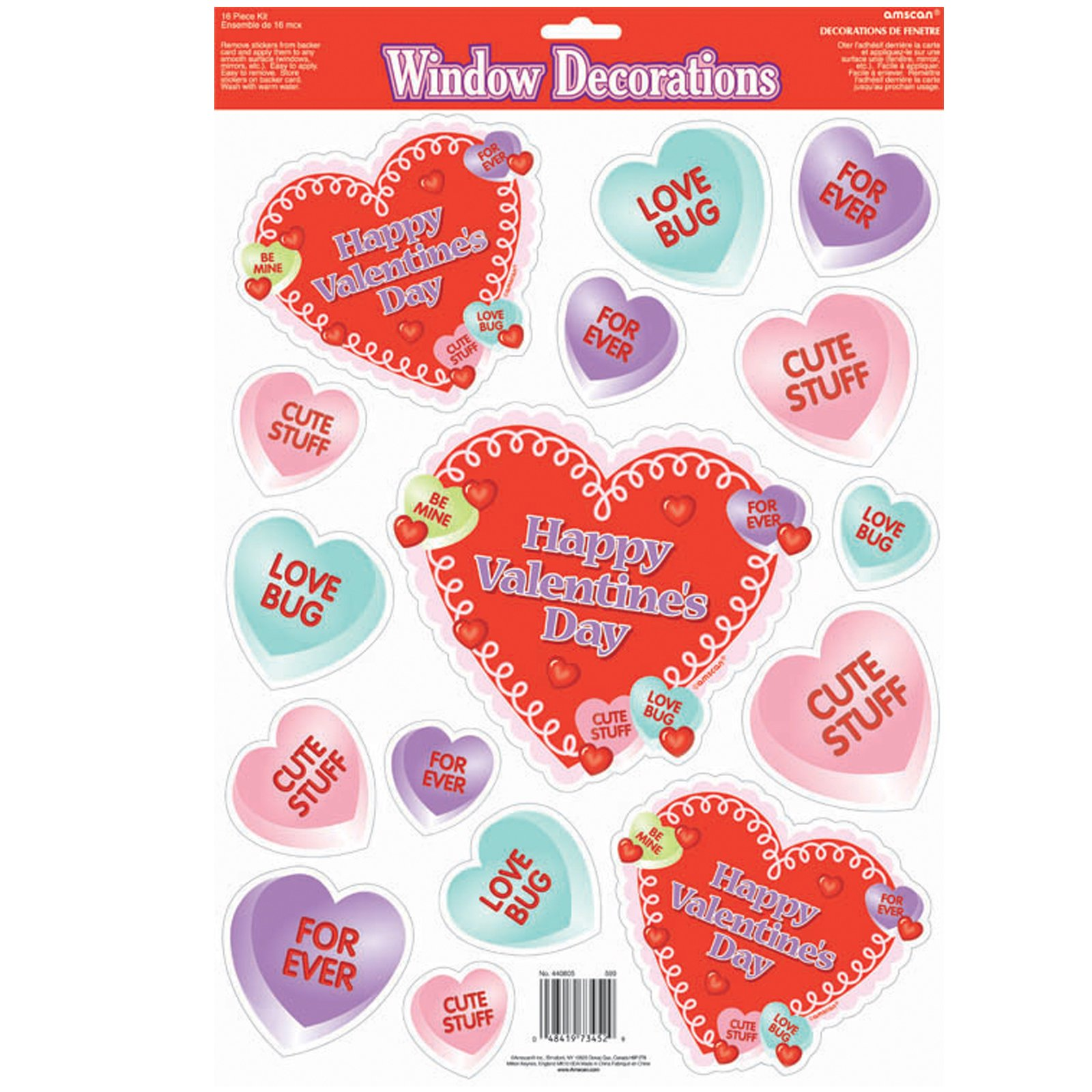 Candy Heart Vinyl Window Clings