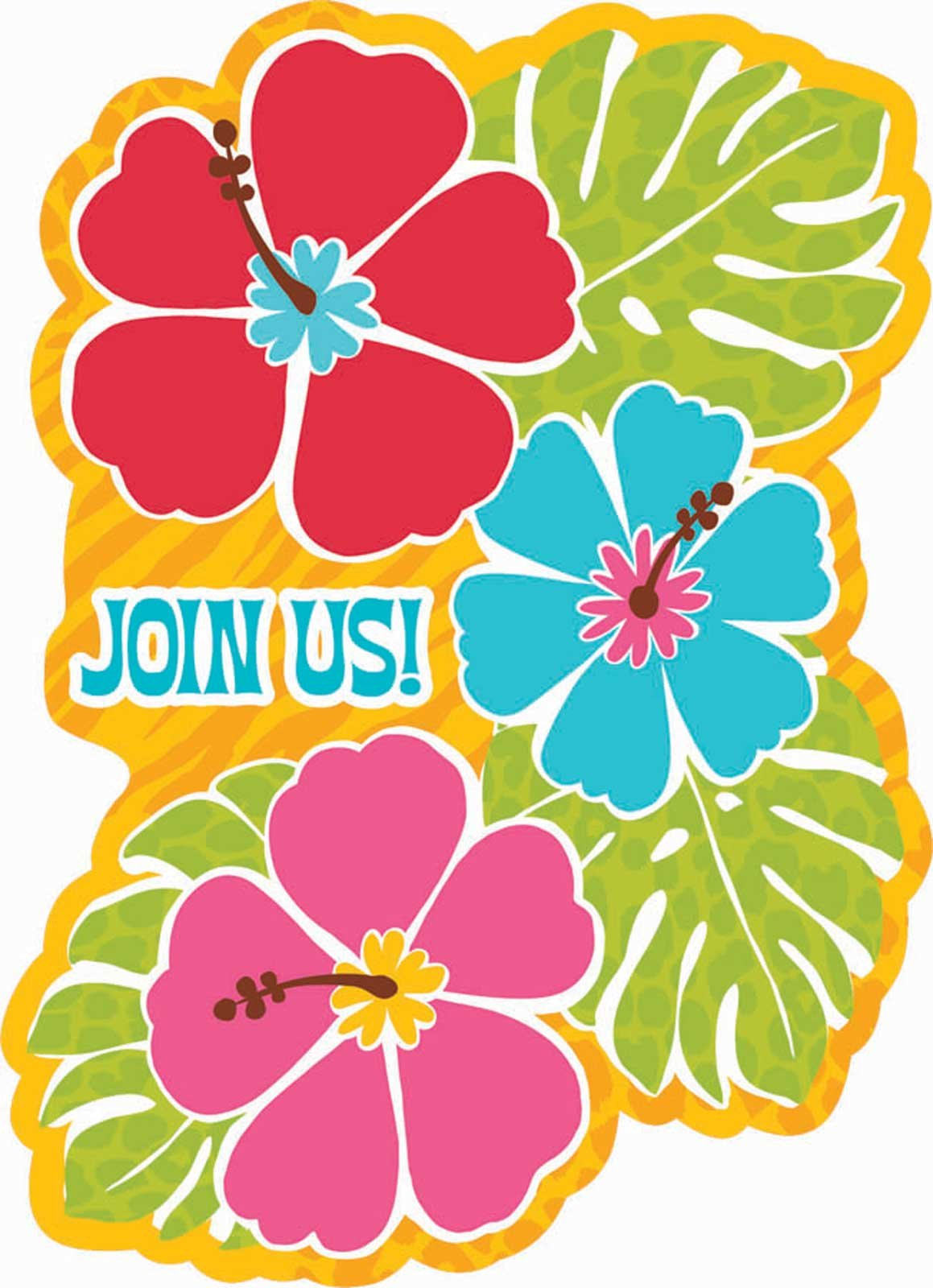 Bright Hibiscus Luau Invitations