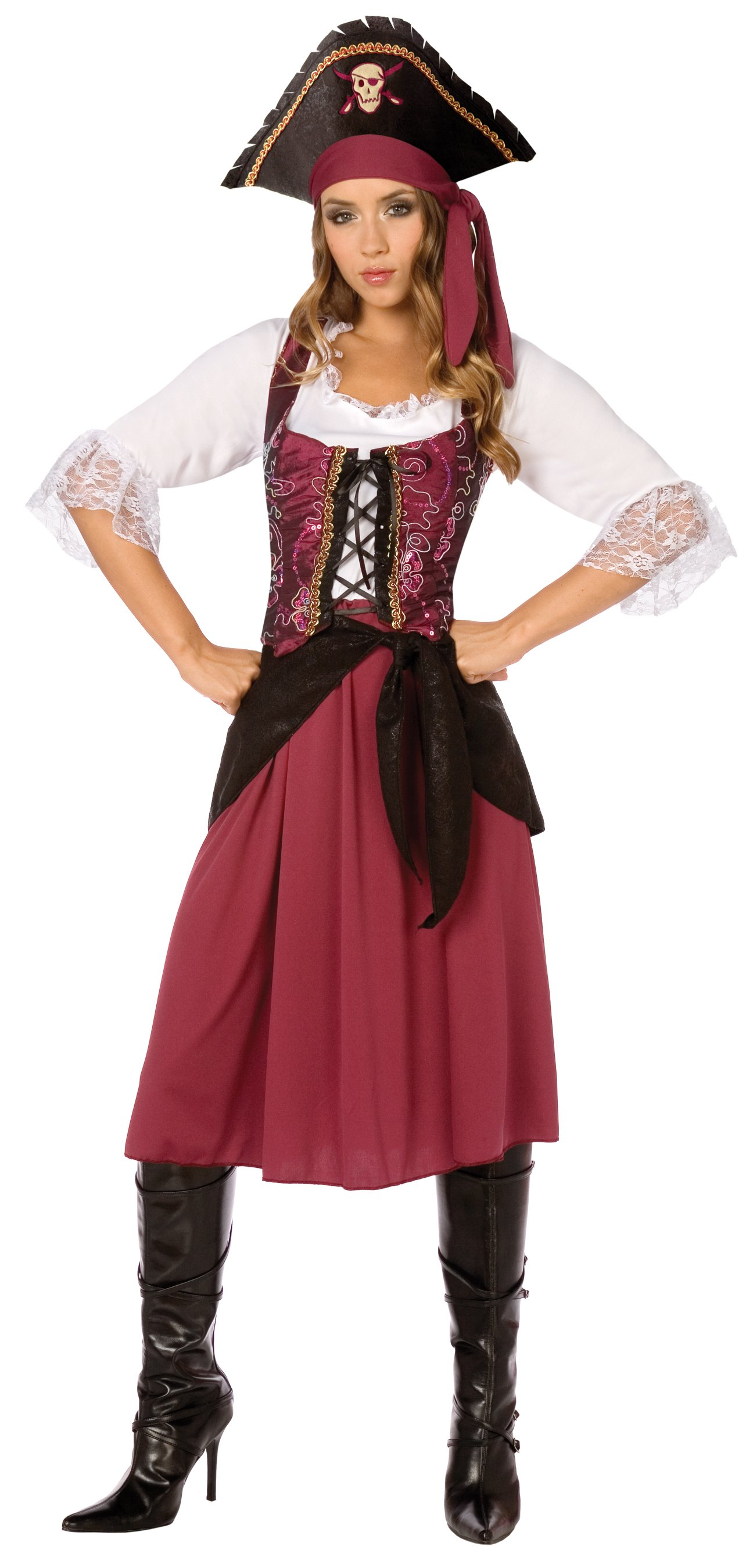 Burgundy Pirate Wench Adult Plus Costume