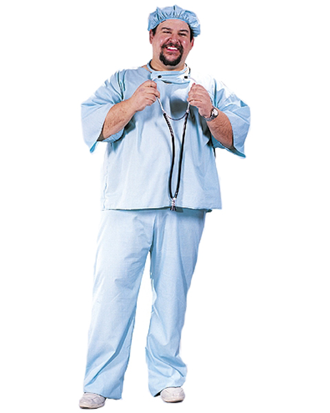 Mens Plus Size ER Doctor Scrubs Costume