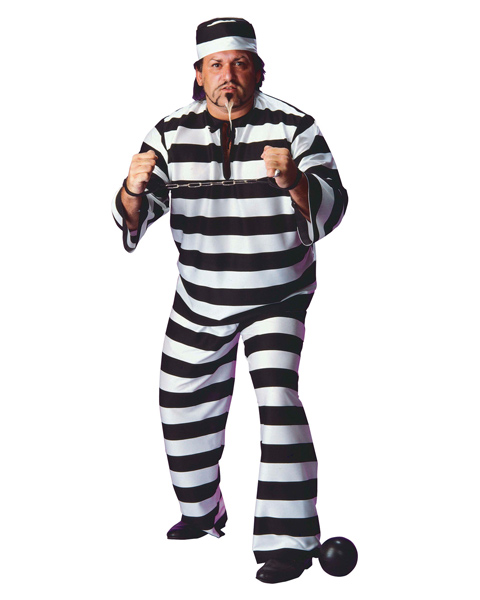 Plus Size Convict Man Costume for Adult
