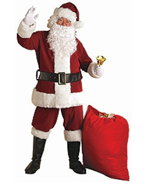 Adult XXL Crimson Regal Plush Santa Suit