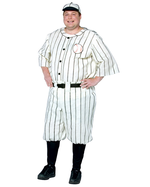 Mens Plus Size Old Time Baseball Player Costume