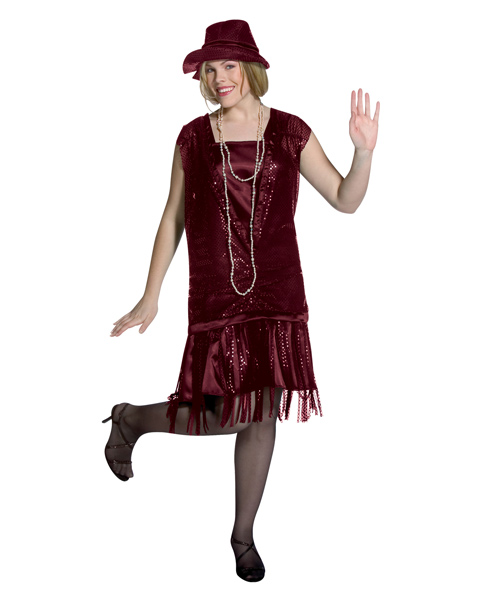 Plus Size Gatsby Girl Burgundy Costume for Adult