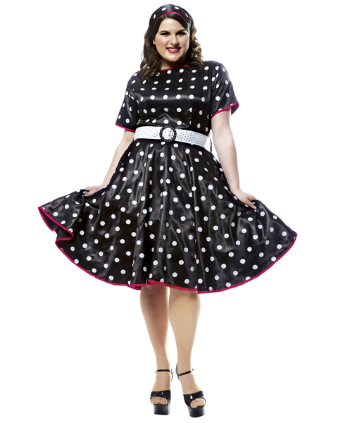Plus Size Hot 50s Black Costume for Adult