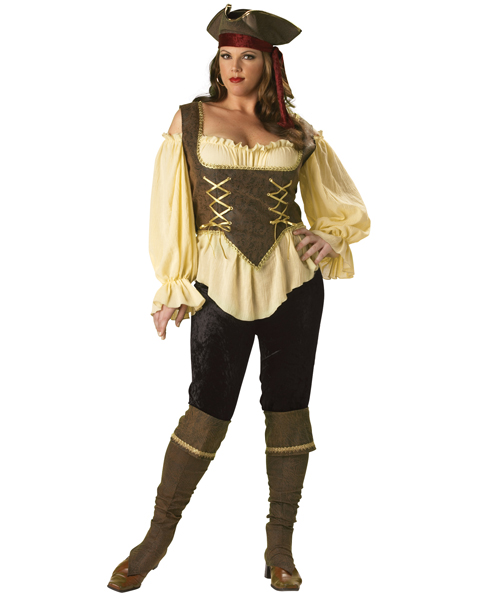 Plus Size Elite Rustic Pirate Lady Costume for Adult