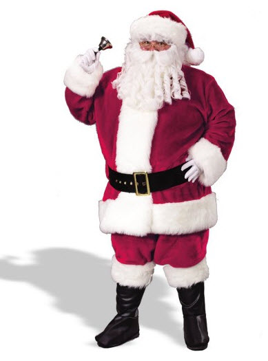 Santa Suit Plush Crimson Plus Size Adult Costume 2X