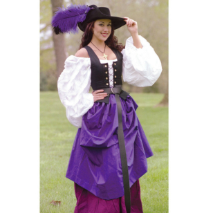 Country Wench Gathered Skirt in Eggplant Renaissance Collection