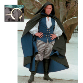 Twill Cloak with Pin Renaissance Collection Adult Costume