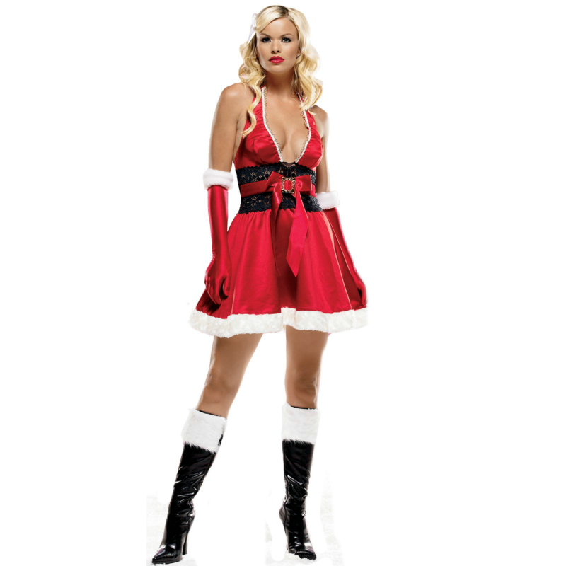 Satin Halter Christmas Dress Adult