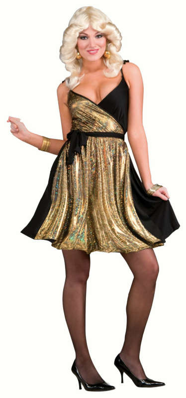 70's Disco Gold Dress Adult Costume