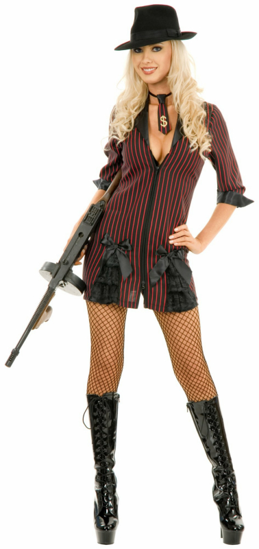 Double Zip Gangster Moll (Black/Red) Adult Plus Costume