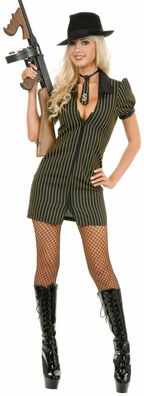 Double Zip Gangster Moll Dress (Black/White) Adult Costume