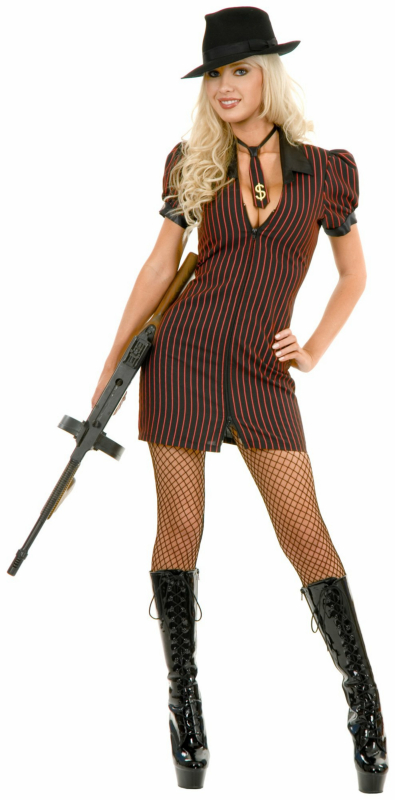 Double Zip Gangster Moll Dress (Black/Red) Adult Costume