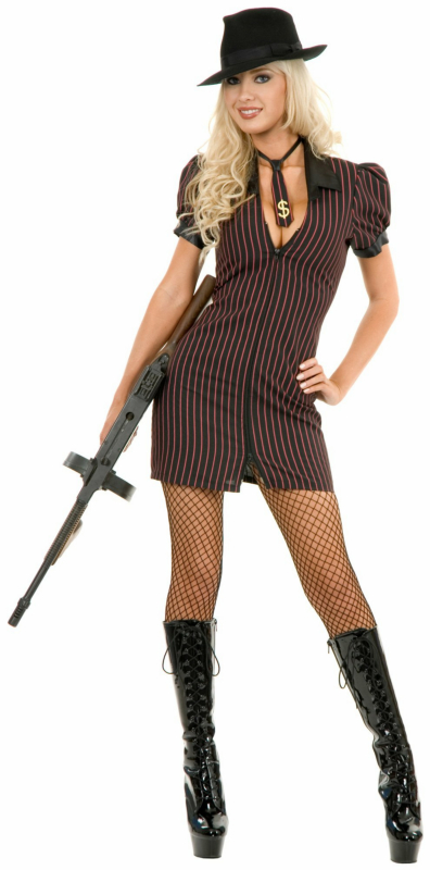 Double Zip Gangster Moll Dress (Black/Pink) Adult Costume