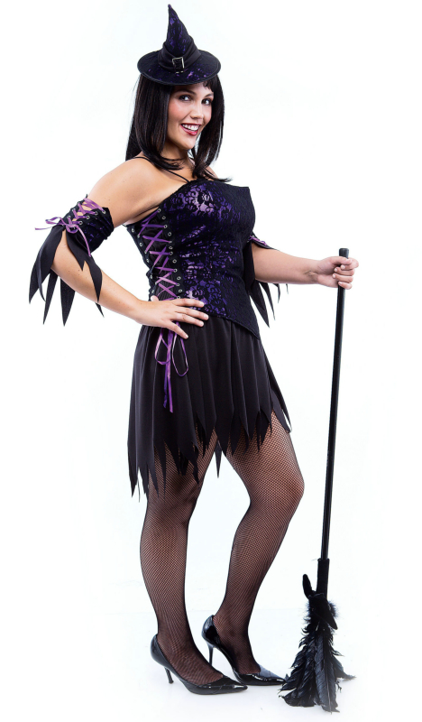 Purple Lace Witch Adult Plus Costume