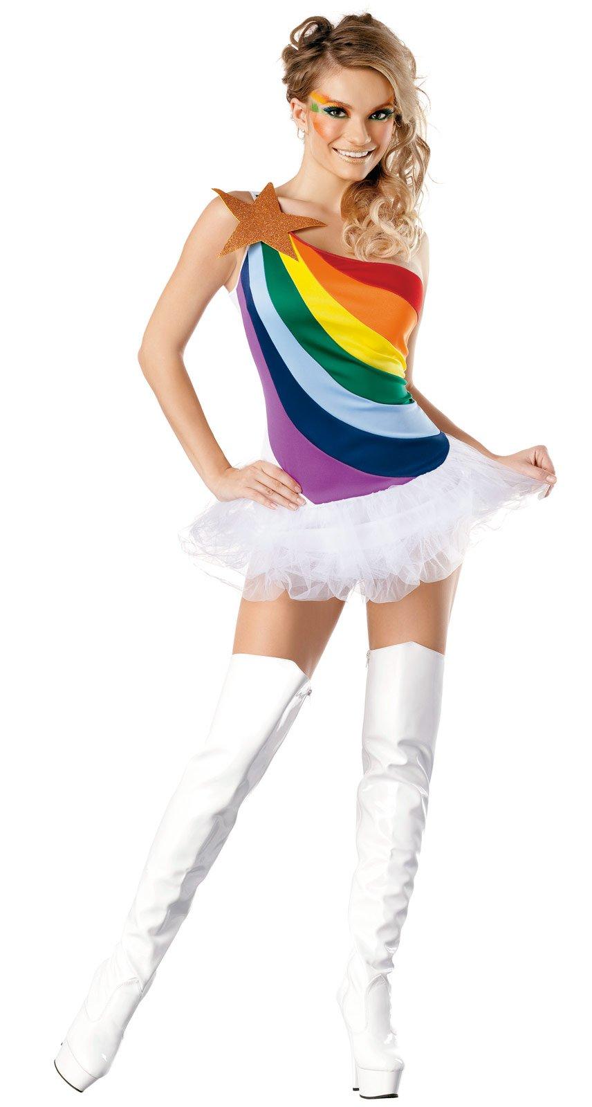 brite rainbow Adult costume halloween