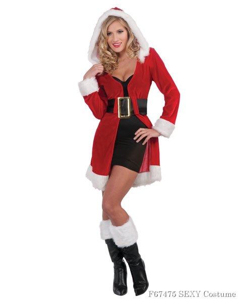 Womens Enchanted Miss Christmas Short Coat Sexy Costume