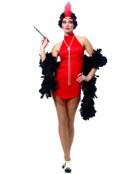 Flapper Red Costume For Adult