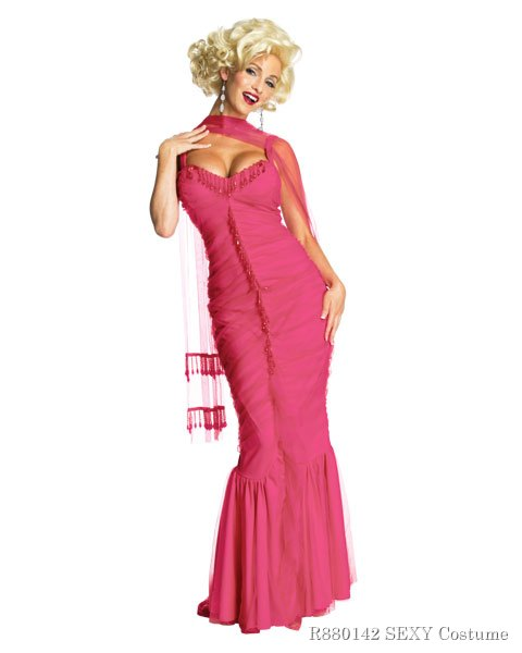 Womens Marilyn Monroe Pink Dress Sexy Costume