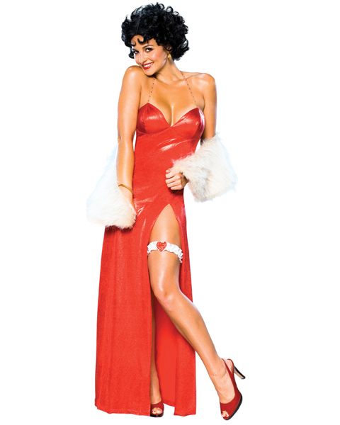 Betty Boop Deluxe Starlet Long Red Dress for Adult