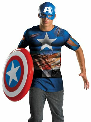 Captain America Shirt And Mask Adult Costume