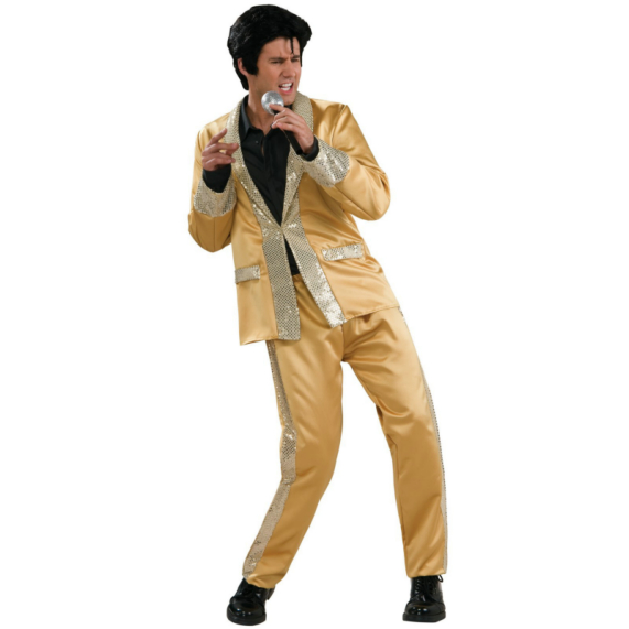 Elvis Gold Satin Suit Deluxe Adult Costume