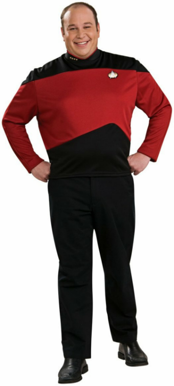 Star Trek Next Generation Red Shirt Deluxe Adult Plus Costume