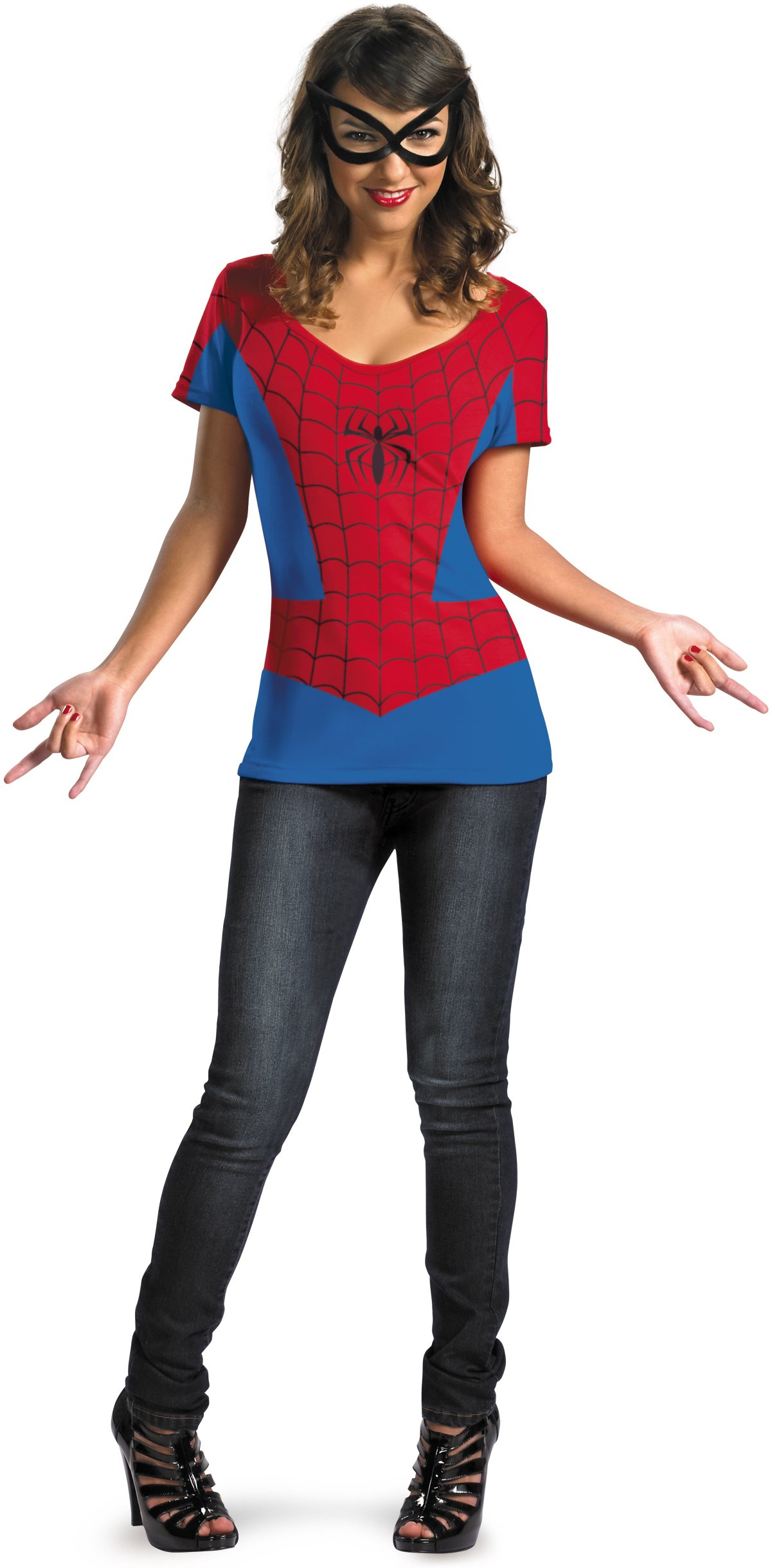 Spider-Girl T-Shirt And Mask Adult Costume Set