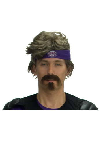 White Goodman Wig and Moustache