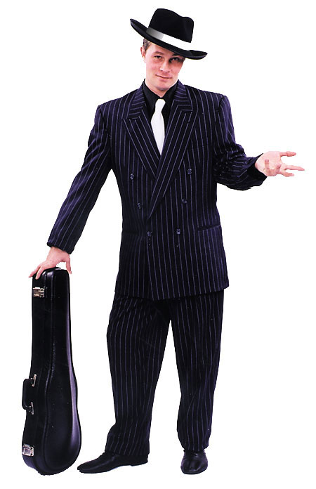 Black Zoot Suit w/ White Pin Stripe Adult Costume: Size 48
