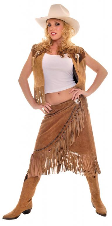 Cowgirl Vest Skirt Set Adult Costume