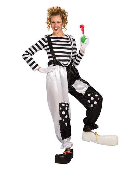 Black and White Clown Womens Costume