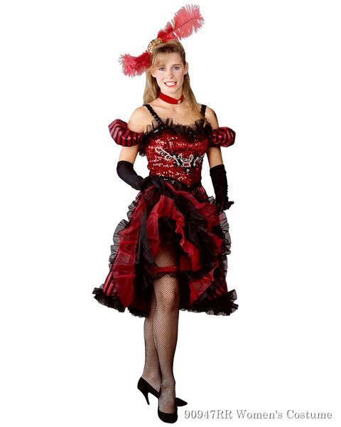 Cancan Girl Red Womens Costume
