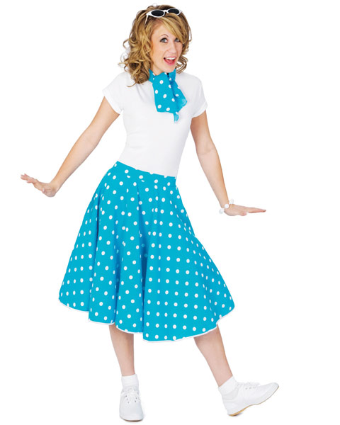 Blue Sock Hop Skirt Womens Costume