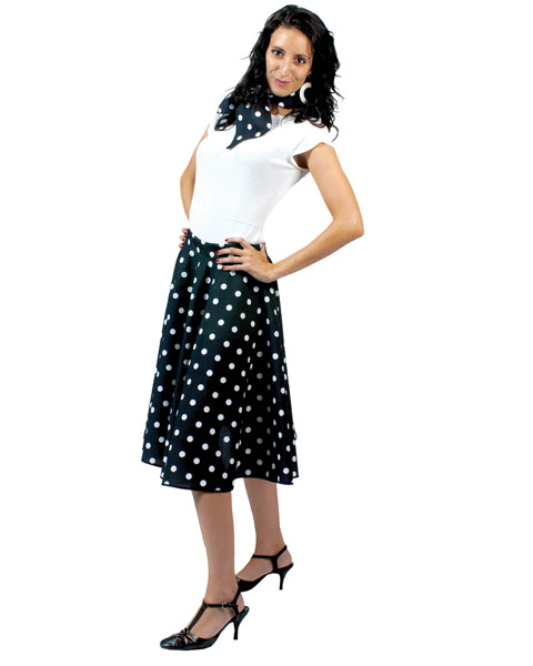 Black Sock Hop Skirt Womens Costume