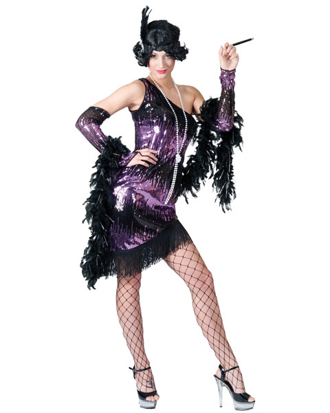 Sexy Purple & Black Jazzy Flapper Womens Costume
