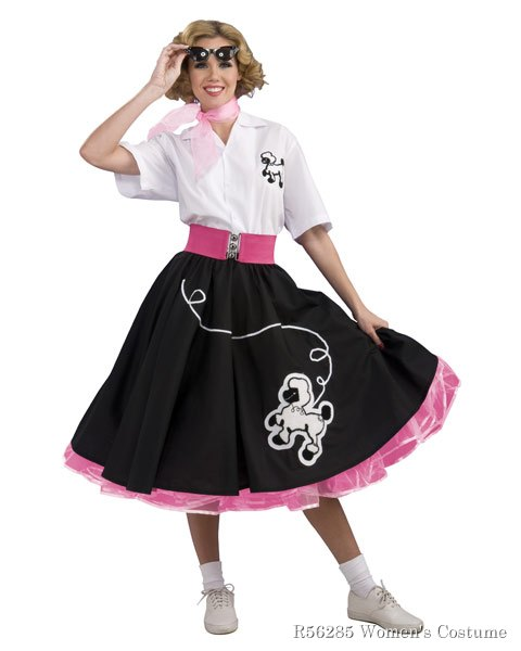 Black 50s Poodle Skirt Womens Costume