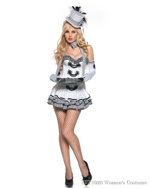 Deluxe Sexy White Cigarette Girl Womens Costume